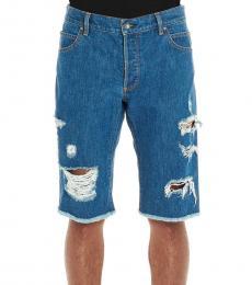 Balmain Blue Ribbed Denim Shorts