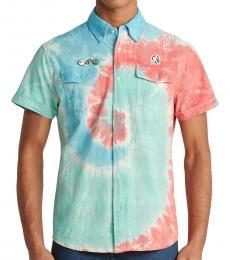 Aqua Plaid Dye Short Sleeve Shirt