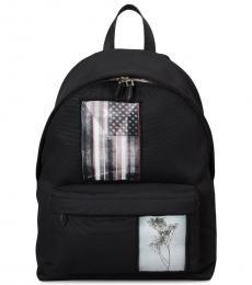Black Printed Large Backpack