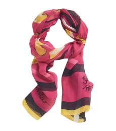 Moschino Pink Printed Square Scarf