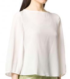 Emporio Armani White Silk Cropped Sleeve Blouse