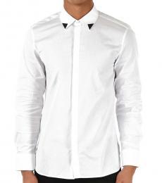 White Hidden Closure Slim Fit Shirt