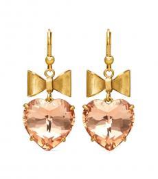 Brass-Pale Papaya Heart & Bow Earrings