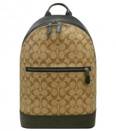 Tan Black West Slim Large Backpack