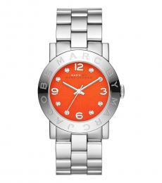 Marc Jacobs Silver Orange Dial Logo Watch