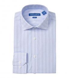 Light Blue Slim Fit Checkered Dress Shirt