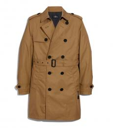 Coach Khaki Solid Trench Coat