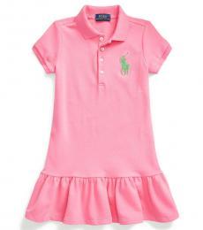 Little Girls Baja Pink Mesh Polo Dress