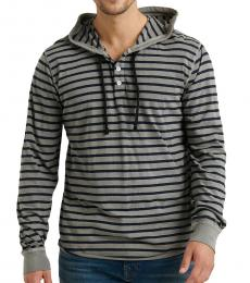 Lucky Brand Dark Grey Stripe Terry Hoodie