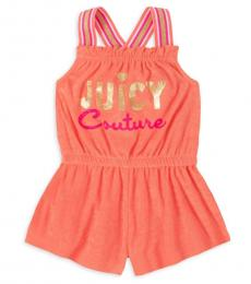 Little Girls Coral Terry Romper