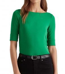 Ralph Lauren Hedge Green Cotton-Blend Boatneck Top