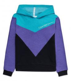 Girls Teal Purple Colorblock Hoodie