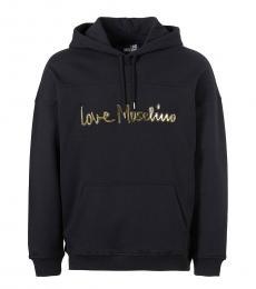 Love Moschino Black Gold Logo Hoodie