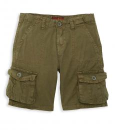 7 For All Mankind Little Boys Olive Washed Cargo Shorts