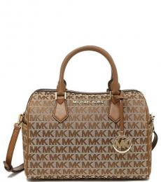 Michael Kors Beige Bedford Signature Medium Satchel