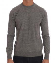 Cavalli Class Dark Grey Wool Crewneck Sweater