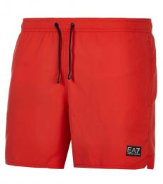 Emporio Armani Red Logo Patch Swimshorts