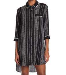 DKNY Black Logo Stripe Sleep Shirt