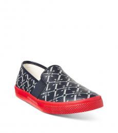 Ralph Lauren Navy Red Signature Print Loafers