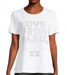 Karl Lagerfeld White Black Love From Paris T-Shirt