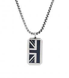 Ben Sherman Black Silver British Flag Pendant Necklace