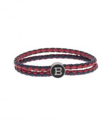Ben Sherman Red Braided Logo Charm Bracelet