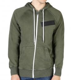 Diesel Olive Logo Patch Hoodie Jacket