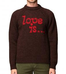 Dsquared2 Dark Brown Knitted Print Sweater