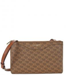 Karl Lagerfeld Dark Brown Doreen Medium Crossbody Bag