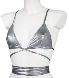 Moschino Silver Criss Cross Bikini Top