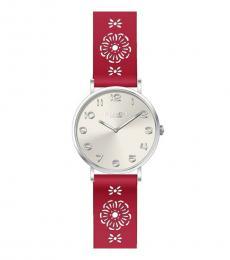 Coach Red Cutout Strap Watch
