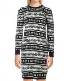 Ralph Lauren Black Multi Rushika Embellished Sweaterdress