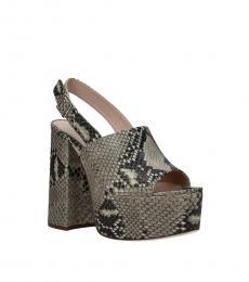 Miu Miu Snake Print Slingback Leather Heels