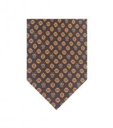 Salvatore Ferragamo Brown Floral Print Tie