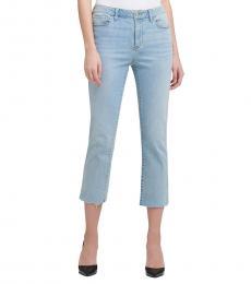 Faded Denim Mid-Rise Slim Straight Crop Jeans