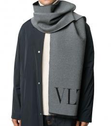 Valentino Garavani Grey-Black Logo Scarf