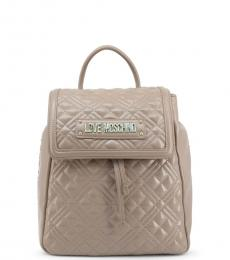 Light Brown Quilted Small Backpack