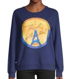 Karl Lagerfeld Blue Logo Graphic Sweatshirt