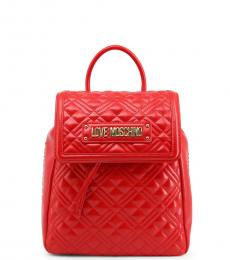 Love Moschino Red Quilted Small Backpack