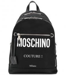 Moschino Black Logo Large Backpack