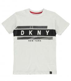DKNY Boys White Logo Graphic T-Shirt