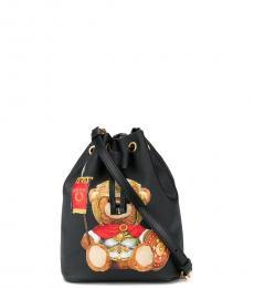 Moschino Black Batman Teddy Small Bucket Bag