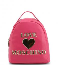 Love Moschino Pink Embossed Logo Small Backpack