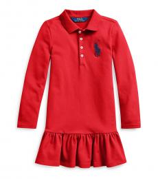 Ralph Lauren Little Girls Red Big Pony Mesh Polo Dress