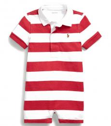 Ralph Lauren Baby Boys Sunrise Red Striped Rugby Shortall