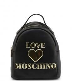 Love Moschino Black Embossed Logo Small Backpack