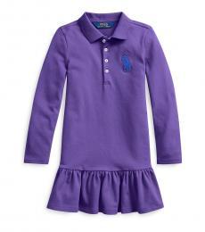 Ralph Lauren Little Girls Purple Big Pony Mesh Polo Dress