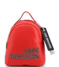 Love Moschino Red Logo Small Backpack