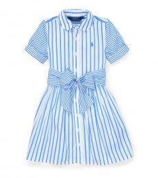 Little Girls Blue Striped Shirtdress