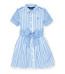 Ralph Lauren Little Girls Blue Striped Shirtdress